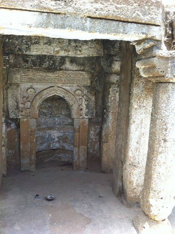 The mihrab niche dates this mosque construction to after 708 CE or 89 AH.
