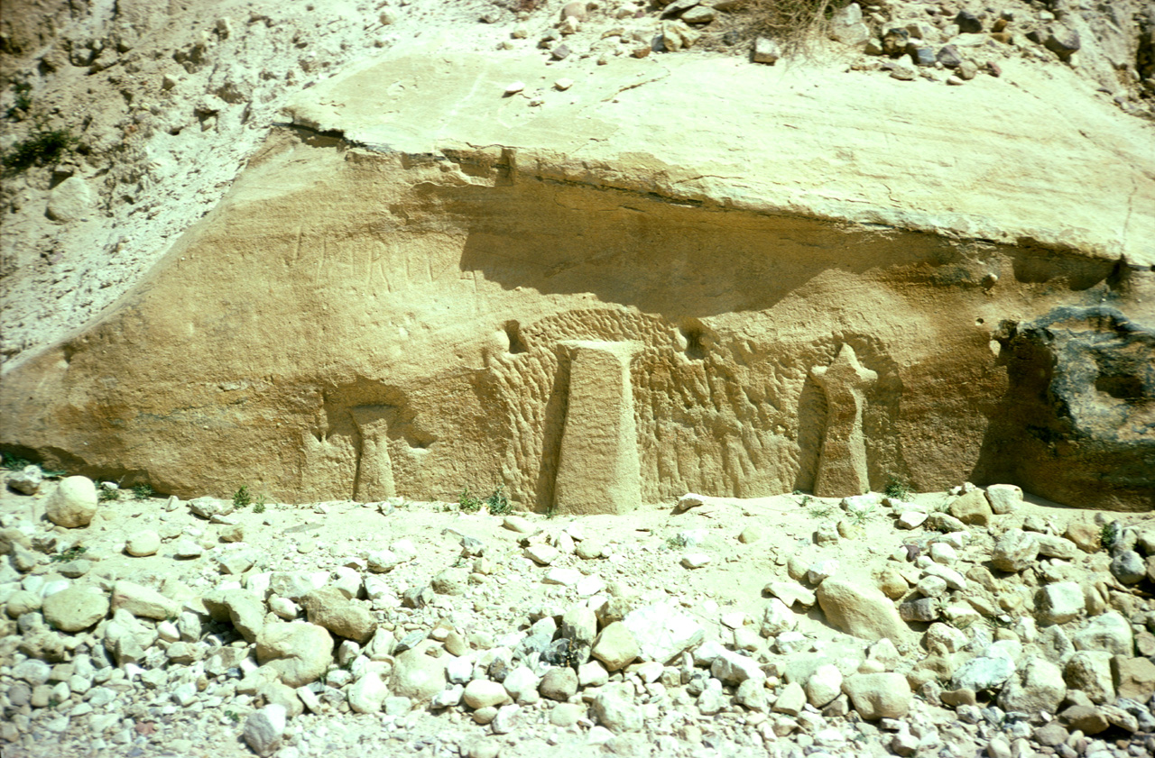 The Rekem inscription outside of Petra before the road was raised covering it.