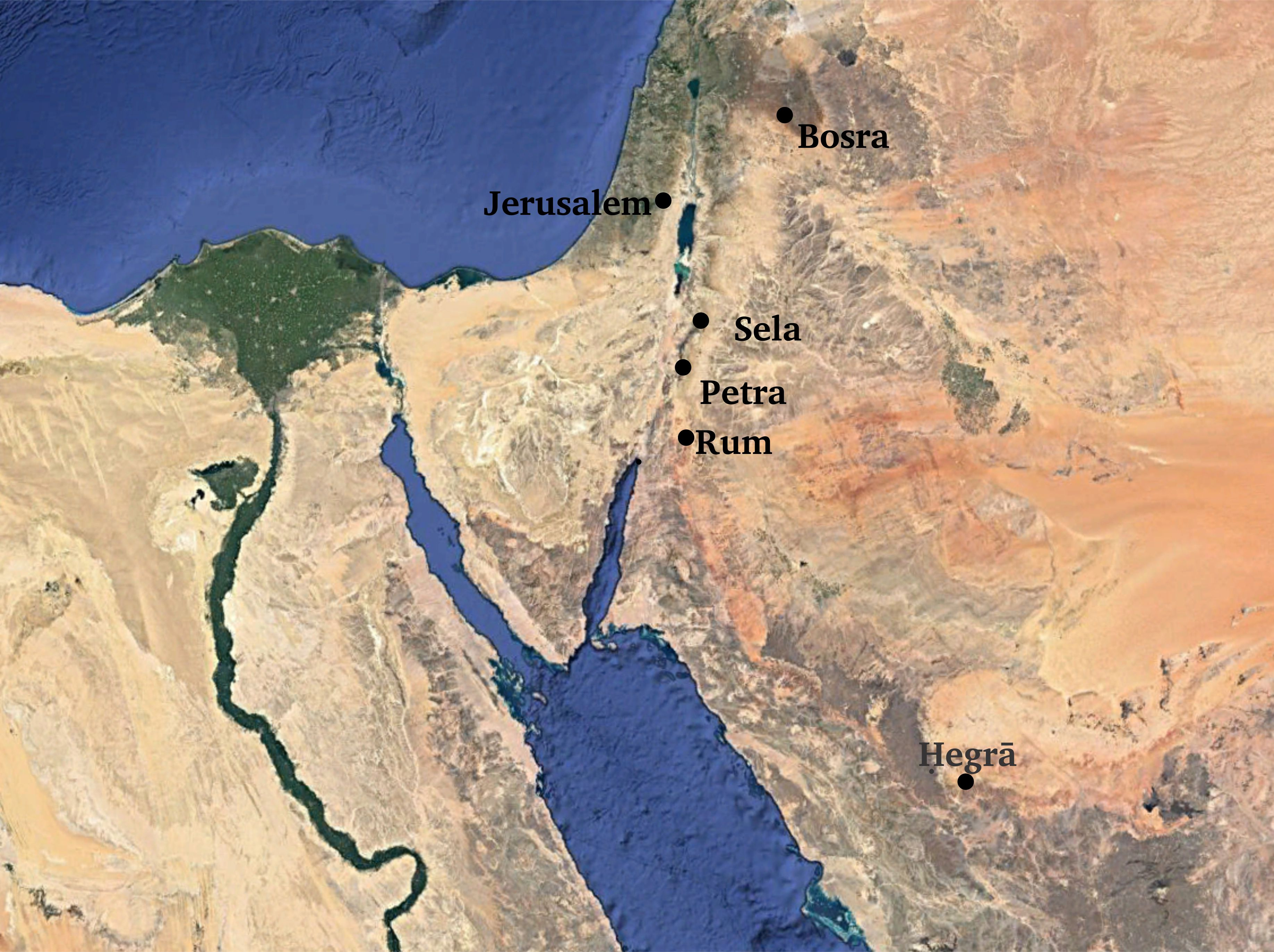 The locations of Sela, Petra, Hegra, and Wadi Rum.