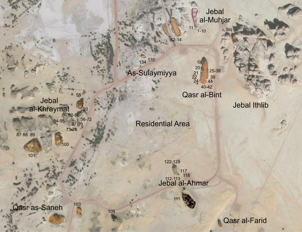 Location of the tombs at Med'ain Saleh