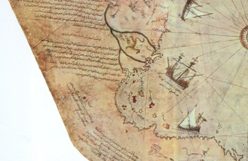 Bottom left corner of the Piri Reis map showing boats around the southern part of South America