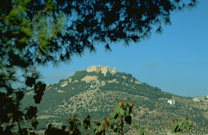 Ajloun Castle sits atop a high hill near the town of Ajloun in northern Jordan.
