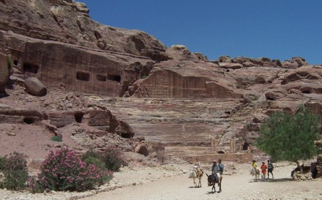 The next main monument as we pass along the road into the heart of the city of Petra is the theater up ahead on our left.