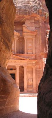 The Treasury monument in Petra is located at the end of a long passage through a crack in the rock. It is the most famous spot in Petra. Photo by Silvija Seres, 2002. Used with permission.