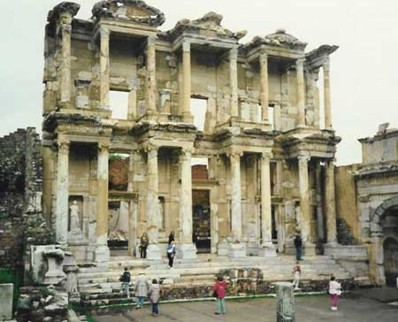 The Ephesus Library. Image copyrighted by Historylink101.com & found at Greek Picture Gallery.
