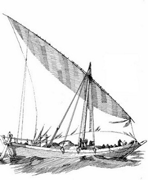 A possible reconstruction of early ocean-going dhows. Their main characteristics were sewn double ended construction, steering oars at the stern and a lateen rigged sail.