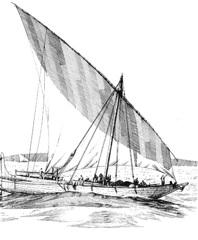 A possible reconstruction of a later dhow with stern rudders and a rope system of steering.