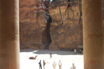 This photograph was taken, standing in the main doorway of the treasury, looking back at the end of the siq.