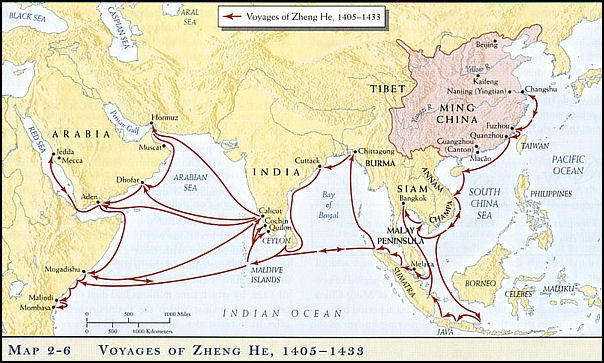 According to Chinese records Zheng He traveled the Indian Ocean. These are his recorded voyages. There is no evidence he traveled further than this.